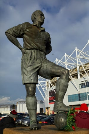 The statue of the former Middlesbrough and England captain George Hardwick outside the Riverside Stadium.