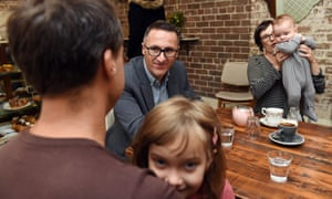 Di Natale in a cafe in the Sydney seat of Grayndler