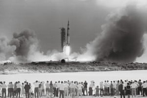 View of the Apollo 11 launch from the press area, Kennedy Space Centre in Florida on 16 July 1969