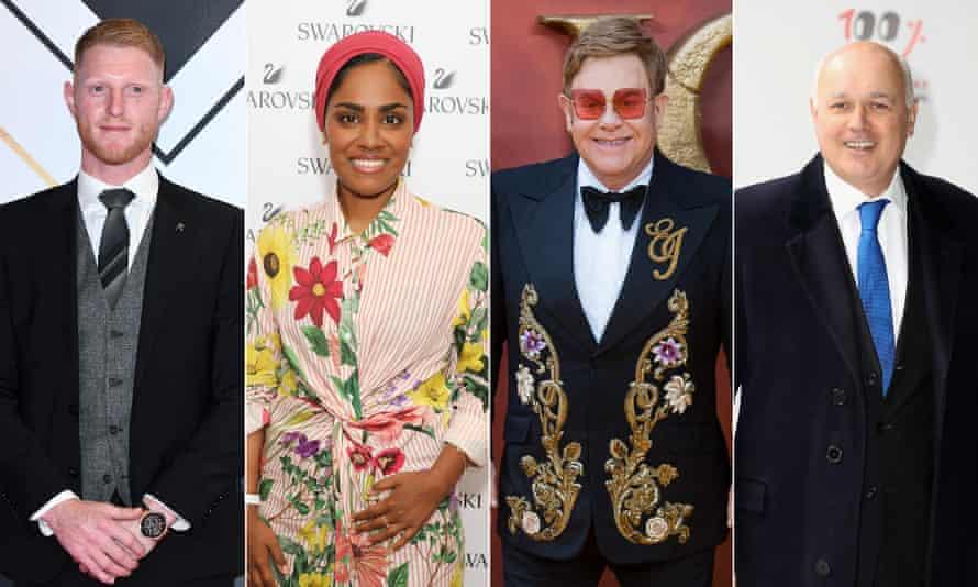 Ben Stokes, Nadiya Hussain, Elton John and Iain Duncan Smith