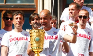 Pep Guardiola, pictured celebrating Bayern Munich's German Cup win, can takje Manchester City to a whole new level, according to the club's chairman Khaldoon Al Mubarak.
