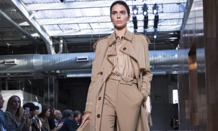 Model Kendall Jenner wears a creation by Burberry.