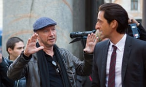 Paul Haggis on the set of Third Person with Adrien Brody in 2013.