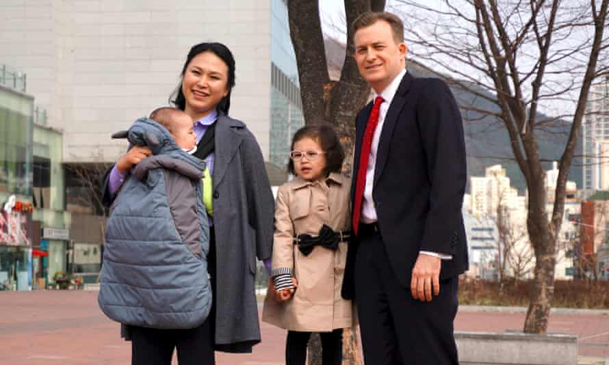 Happy family ... Robert Kelly with his wife Jung-a Kim and children Marion and James.