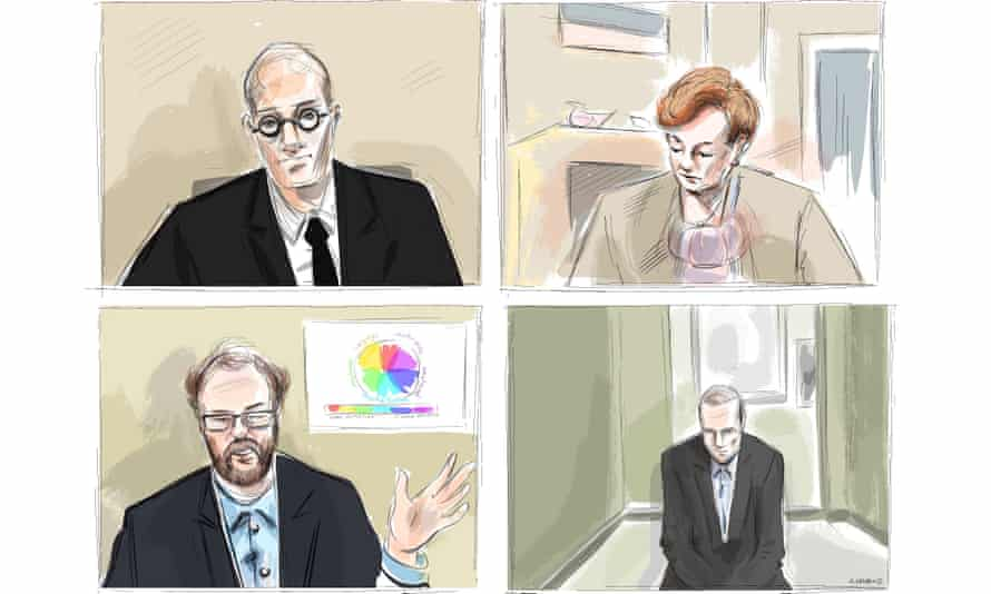 A court sketch depicts the Crown attorney Joe Callaghan, clockwise from top left, Justice Anne Molloy, the accused Alex Minsassian and expert witness Dr Alexander Westphal.