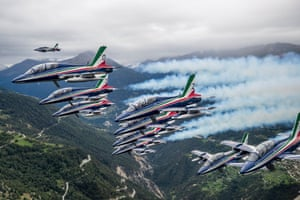Sion, Switzerland: The Italian air force's aerobatic demonstration team