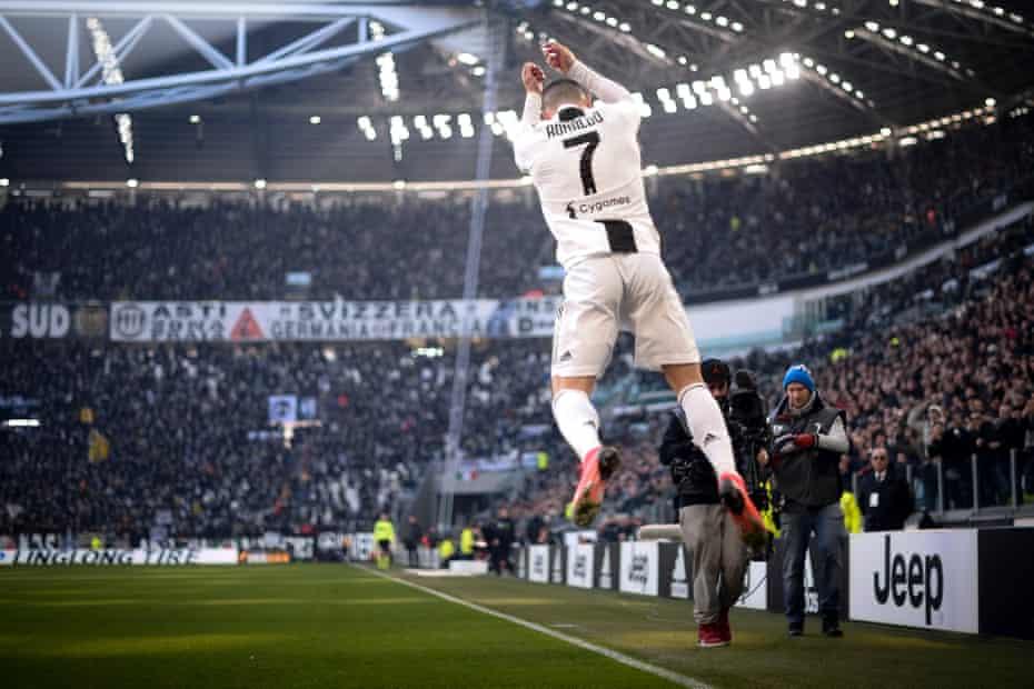 Cristiano Ronaldo of Juventus celebrates after scoring against Sampdoria in December.