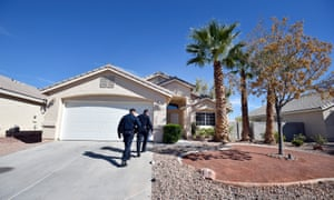 North Las Vegas police officers Alain Villanueva and Scott Vaughn investigate a possible squatter residence.
