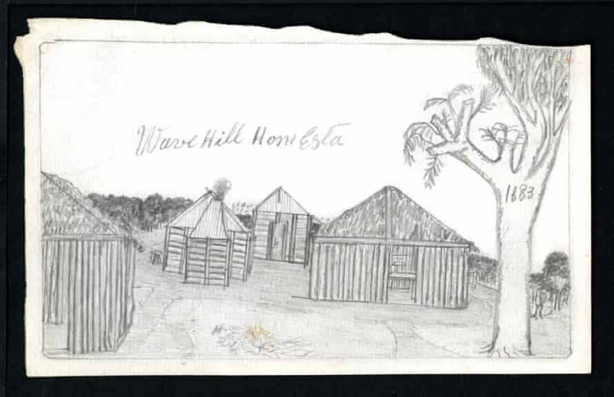 Drawing of Wave Hill Station.