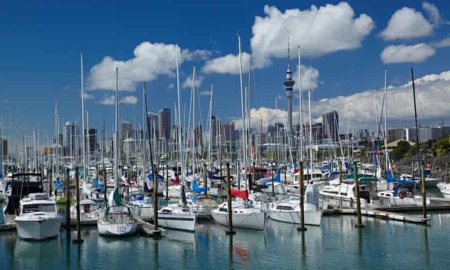 Westhaven Marina, and Sky Tower, Auckland.