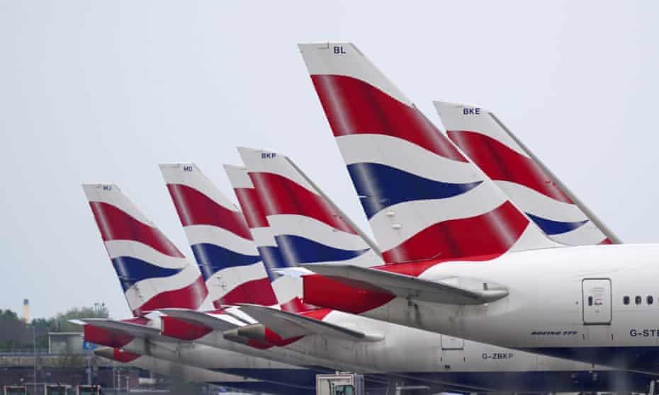 British Airways planes parked up
