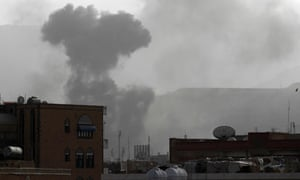 Smoke rises from the Faj Attan Hill area in the Yemeni capital, Sana'a, after a reported air strike.