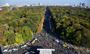 Demonstrators gather in Berlin's Tiergarten district in October as part of a march to campaign for an open and caring society.