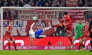 Leon Goretzka's attempted bicycle kick led to Schalke's only goal in the 2-1 defeat at Bayern.