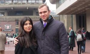 Daniela Tejada with PhD student Matthew Hedges.