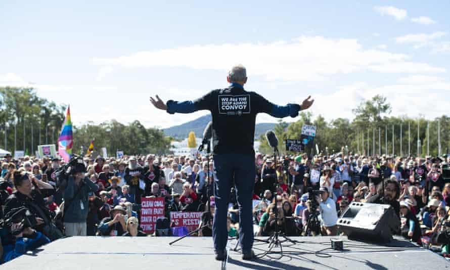 Bob Brown speaks during Sunday's protest against Adani's Carmichael coalmine.