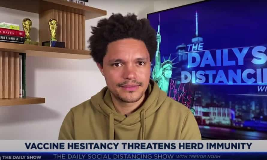 """Trevor Noah on the unlikelihood of herd immunity in the US: """"Honestly, in these divided times, it's just great to see all Americans coming together to fail at something so easily achievable."""""""