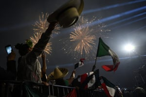 Mexico City, Mexico: People celebrate in the Zócalo square during a ceremony marking the start of independence day celebrations