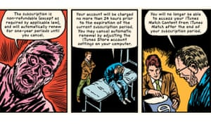cells explaining iTunes Match, from Terms and Conditions The Graphic Novel by Robert Sikoryak