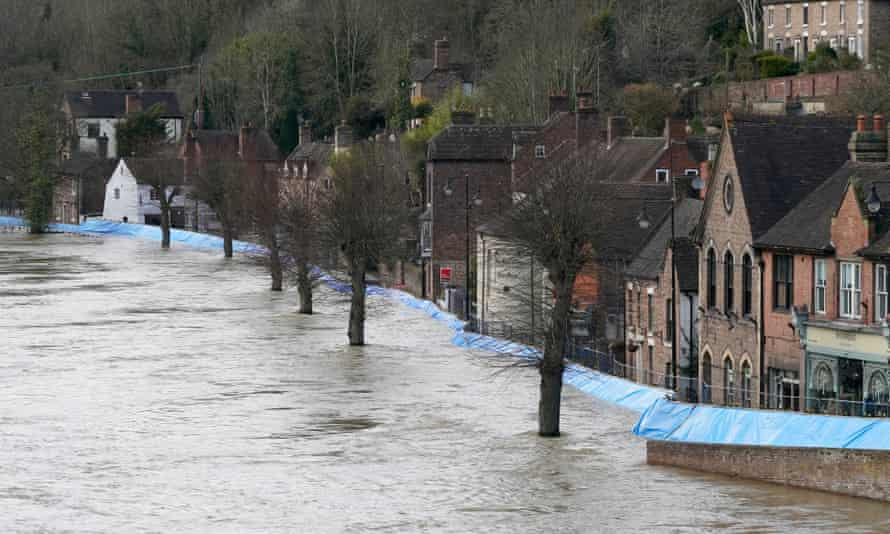 Flood barriers guarding historic properties in Ironbridge, Shropshire, in February.