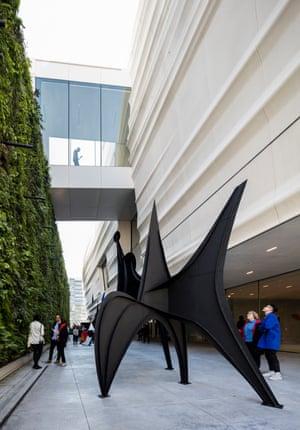 The Pat and Bill Wilson Sculpture Terrace with an Alexander Calder sculpture.