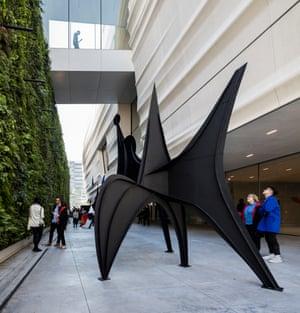 A sculpture by Alexander Calder beside a living wall on the Pat and Bill Wilson Sculpture Terrace.