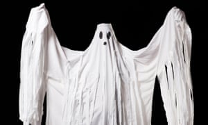 A man in a ghost costume