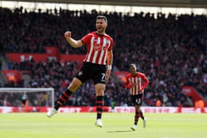 April 27: Shane Long of Southampton celebrates after scoring his team's first goal against Bournemouth at St Mary's Stadium.