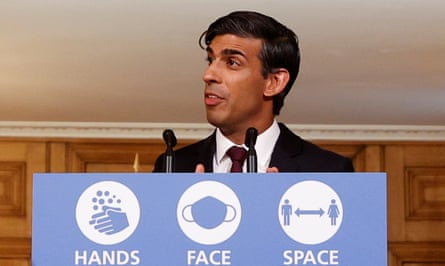 Chancellor Rishi Sunak speaking during a virtual news conference to present his winter economy plan.