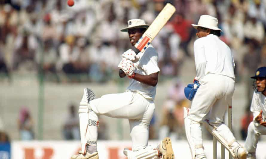 Chris Lewis on his way to his lone Test ton, against India in the second Test in Madras, now Chennai, in 1993