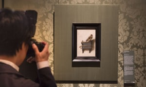 The Goldfinch by Carel Fabritius on display in the Mauritshuis in The Hague, Netherlands.
