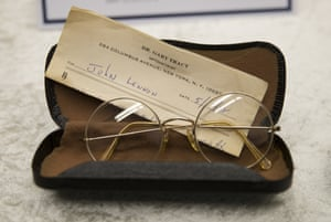 Glasses of John Lennon with a prescription by optometrist Gary Tracy are displayed at the police headquarters in Berlin