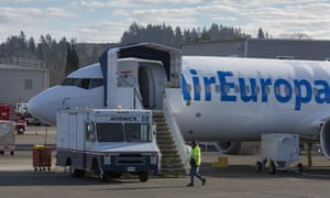 An Air Europa 737 MAX airplane is parked at the Boeing Renton Factory in Renton, Washington on Thursday, January 14, 2021.