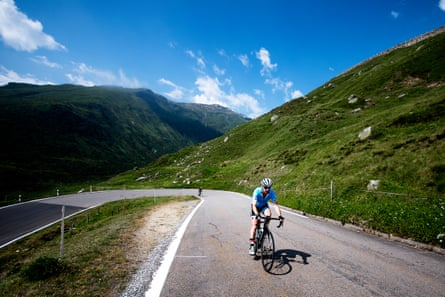Cyclists climb the Furka Pass
