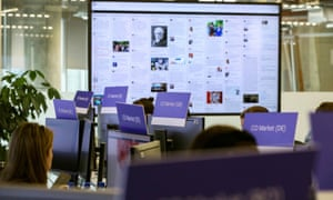 Facebook's elections operation center in Ireland. An executive said Facebook struggled with misinformation throughout the 2016 US election.