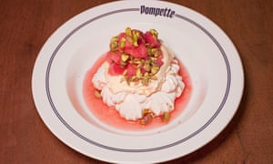 'They've made the effort': meringue with rhubarb and pistachios.