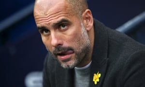 Pep Guardiola, during the Premier League match against Manchester United