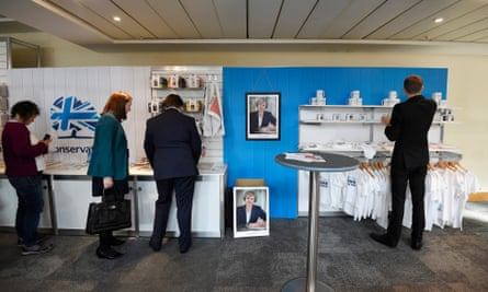 Tory party visitors check out the memorabilia.