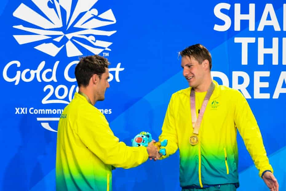 Blake Cochrane congratulates compatriot Jess Aungles after going one-two in the 200m individual medley SM8