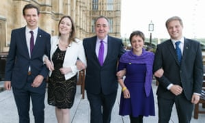 Callum McCaig, Eilidh Whiteford, Alex Salmond, Kirsty Blackman and Stuart Donaldson as SNP as North-East Scotland MPs gather outside Parliament, London