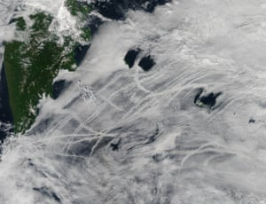 Plumes produced by ships in Russia's Kamchatka peninsula