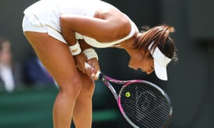 Heather Watson shows her frustration as her 2019 Wimbledon campaign ended in a 7-5, 6-1 defeat on Court No 1