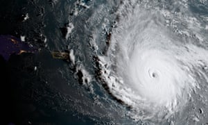 Hurricane Irma is captured by the National Oceanic and Atmospheric Administration GOES-16 satellite as it strengthens to a category 5 hurricane in the central Atlantic Ocean.