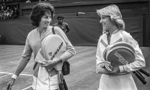 Virginia Wade and Chris Evert, Wimbledon semi-final, 29June 1977 GNM Archive ref GUA/6/9/2/1 Box 37