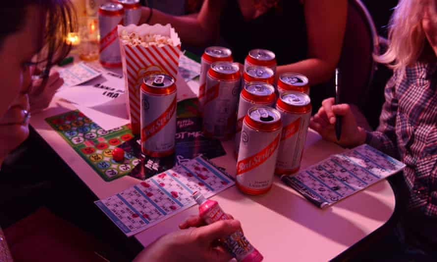 Beer and popcorn … unlike the sober concentration of traditional bingo, Rebel Bingo is a boozy affair.