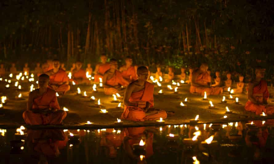 Buddhist monks meditating. There is a small but growing body of evidence that regular meditation really can slow ageing, at least at the cellular level.