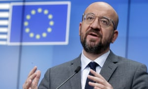 European Council president Charles Michel speaks at the European Council headquarters in Brussels on Thursday.