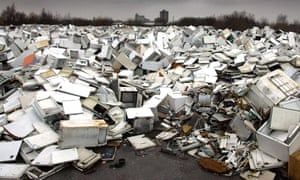 An ocean of fridges at a site near to the Manchester Ship Canal, Manchester.