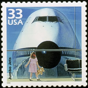 The first commercial 747 jumbo jet is honoured on a new 33c US stamp in the Celebrate the Century series saluting the 1970s.