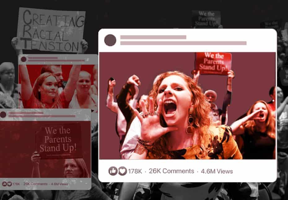 illustration shows parents shouting inside social media-style border